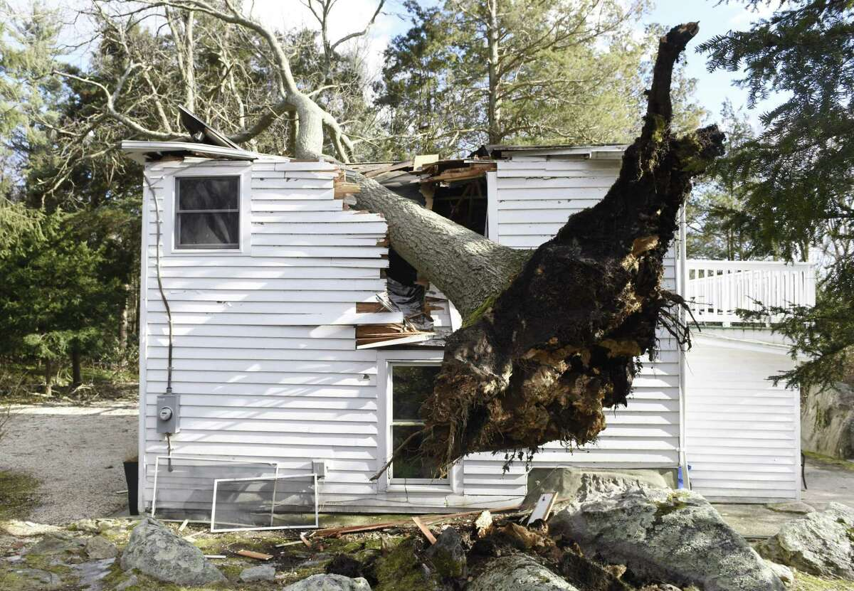A fallen tree destroyed a home at 37 Haviland Court in northern Stamford, Conn. Monday, Feb. 25, 2019. The area encountered extremely heavy winds Monday that downed trees causing property damage and closing roads.