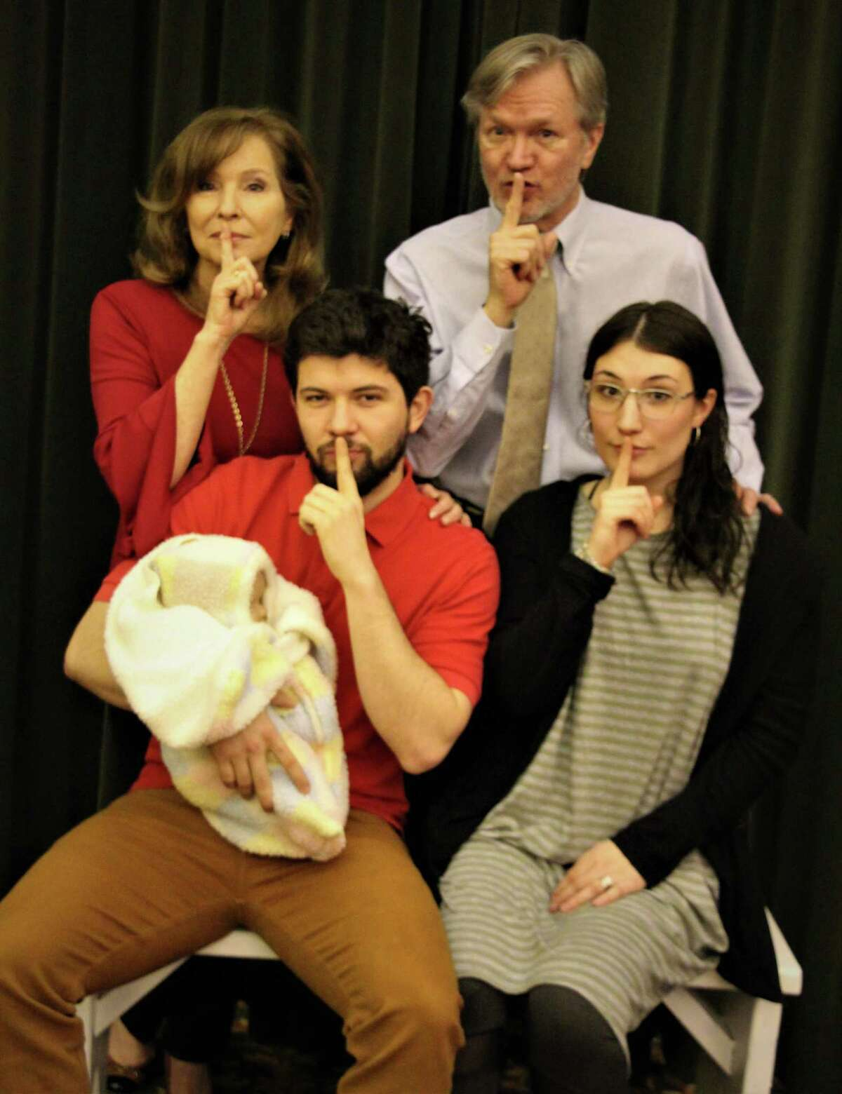 """Starring in """"Clever Little Lies"""" at the Square One Theatre in Stratford through March 17 are, clockwise from bottom left, Paulo Araujo, Peggy Nelson, Peter Wood and Josie Kulp."""