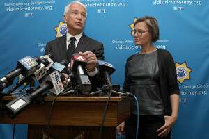 San Francisco district attorney George Gascon (left) and founder Jennifer Pahlka (right) of Code for America announce her group identified every marijuana-related conviction that is eligible for resentencing or expungement under proposition 64 on Monday, Feb. 25, 2019, in San Francisco, Calif.  The district attorney's office has automatically cleared 8,132 marijuana-related convictions. An additional 1230 marijuana-related convictions the district attorney's office already expunged brings the total number to 9362.