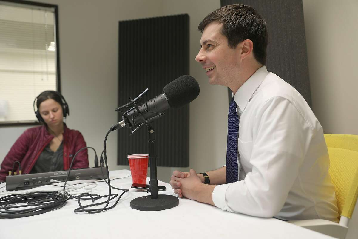 South Bend Indiana Mayor Pete Buttigieg brings his presidential campaign to San Francisco and does a podcast at the San Francisco Chronicle with reporter Joe Garofoli on Monday, Feb. 25, 2019 in San Francisco, Calif.