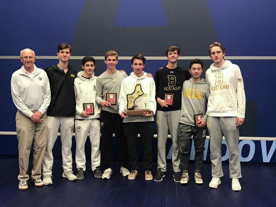 The Brunswick School squash team won the New England title for the eighth straight season on Sunday at Phillips Andover Academy. They have won 17 New England titles overall. Photo: Contributed Photo / Greenwich Time Contributed