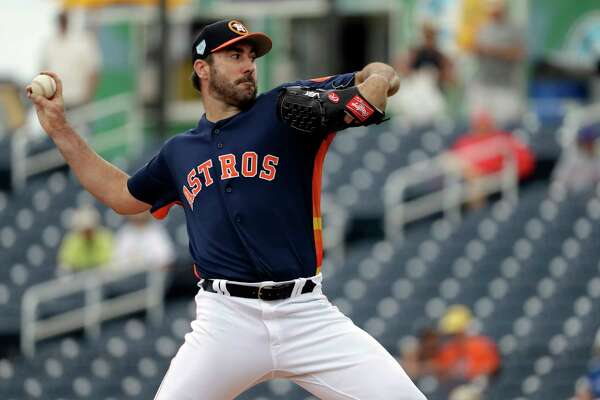 Houston Astros starting pitcher Justin Verlander throws during the first inning of an exhibition spring training baseball game against the New York Mets Monday, Feb. 25, 2019, in West Palm Beach, Fla. (AP Photo/Jeff Roberson)
