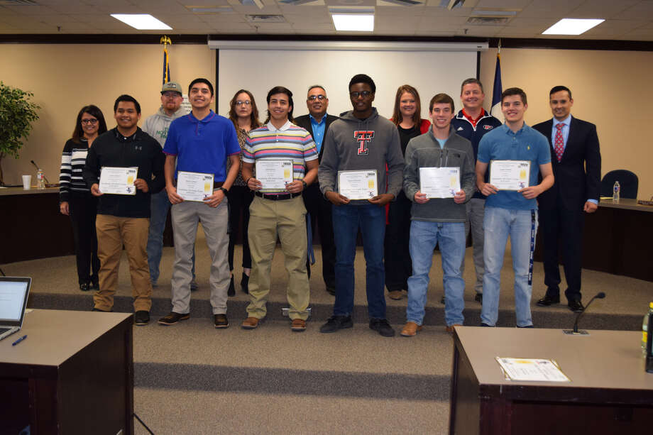 Plainview Academic All-State Athletes are recognized during the Plainview School Board's regular meeting Thursday night. Photo: Ellysa Harris/Plainview Herald