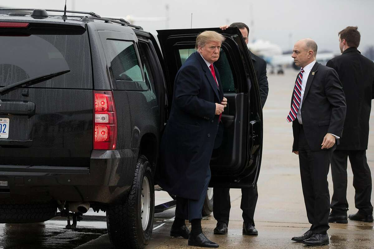 FILE -- President Donald Trump exits his motorcade on his way to a rally in El Paso, Texas, at Joint Base Andrews, Feb. 11, 2019. Over the last two years, Trump has waged a regular assault on prosecutors and other law enforcement officials investigating him, particularly on special counsel Robert Mueller's team. (Sarah Silbiger/The New York Times)