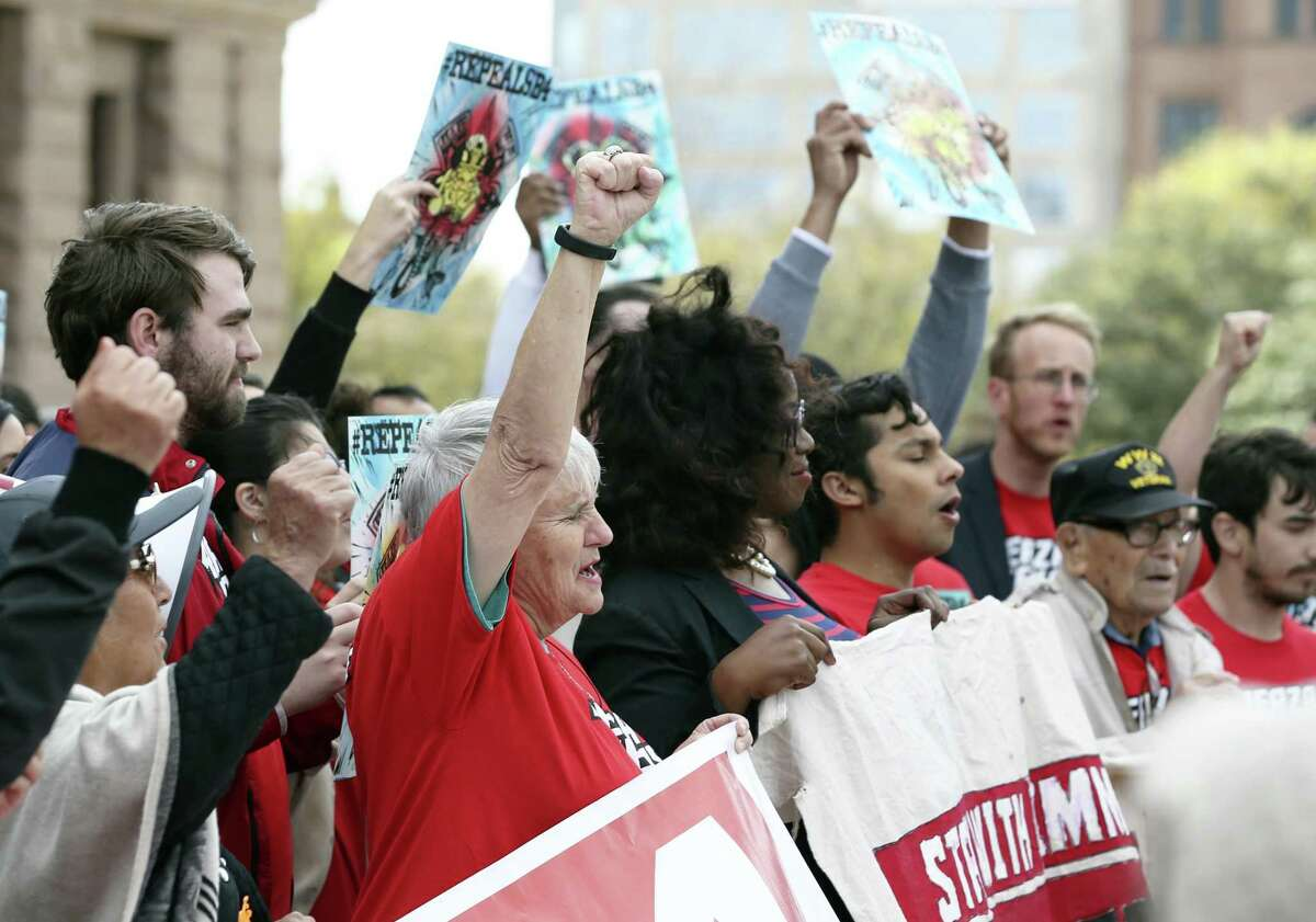 Furze Texas gathers a large crowd at a rally at the State Capitol calling for the repealing of SB4, Monday, Feb. 25, 2019. The bill was passed by the Texas legislature during the last session and bans sanctuary cities in the state. Texas State Sen. Jose Menedez, D-San Antonio, and State Rep. Rafael Anchia, D-Dallas, have introduce bills repealing SB4.