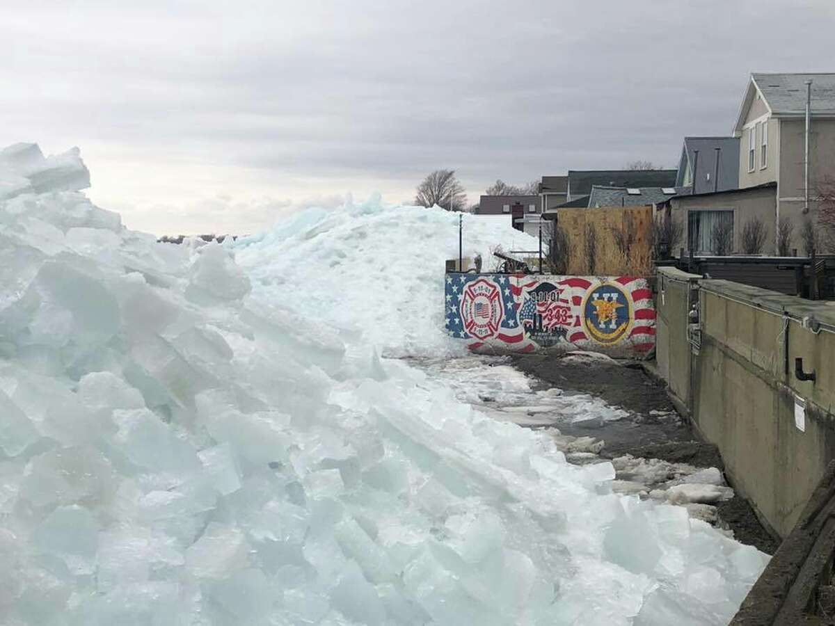 Photos from the Hoover Beach area in New York show ice flowed over onto the beach on Sunday, February 25, 2019.