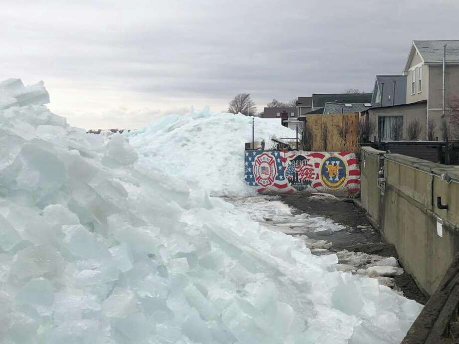 Photos from the Hoover Beach area in New York show ice flowed over onto the beach on Sunday, February 25, 2019. Photo: Town Of Hamburg Emergency Services