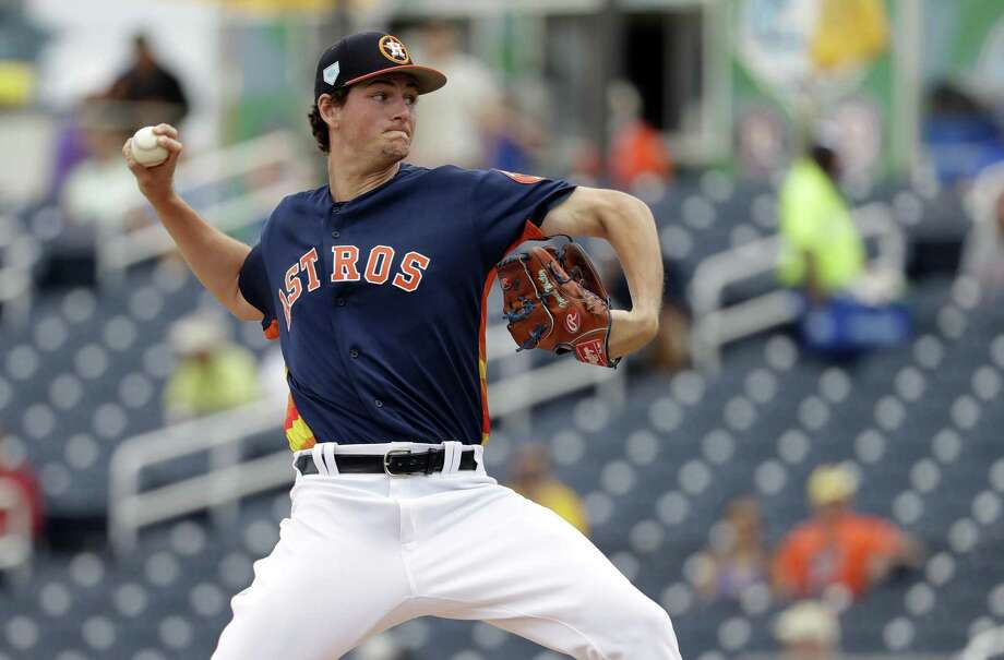 PHOTOS: A look at the top prospects in the Astros' farm system Astros phenom Forrest Whitley used all five pitches in his arsenal during a two-inning outing on Feb. 24, with his fastball touching 96 mph. Photo: Jeff Roberson, STF / Associated Press / Copyright 2019 The Associated Press. All rights reserved.