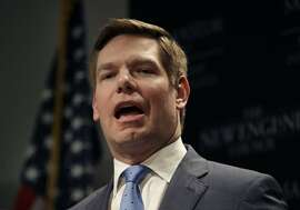 Rep. Eric Swalwell, D-Calif., speaks at a Politics & Eggs event, Monday, Feb. 25, 2019, in Manchester, N.H. Swalwell is considering a run for the Democratic presidential nomination. (AP Photo/Elise Amendola)