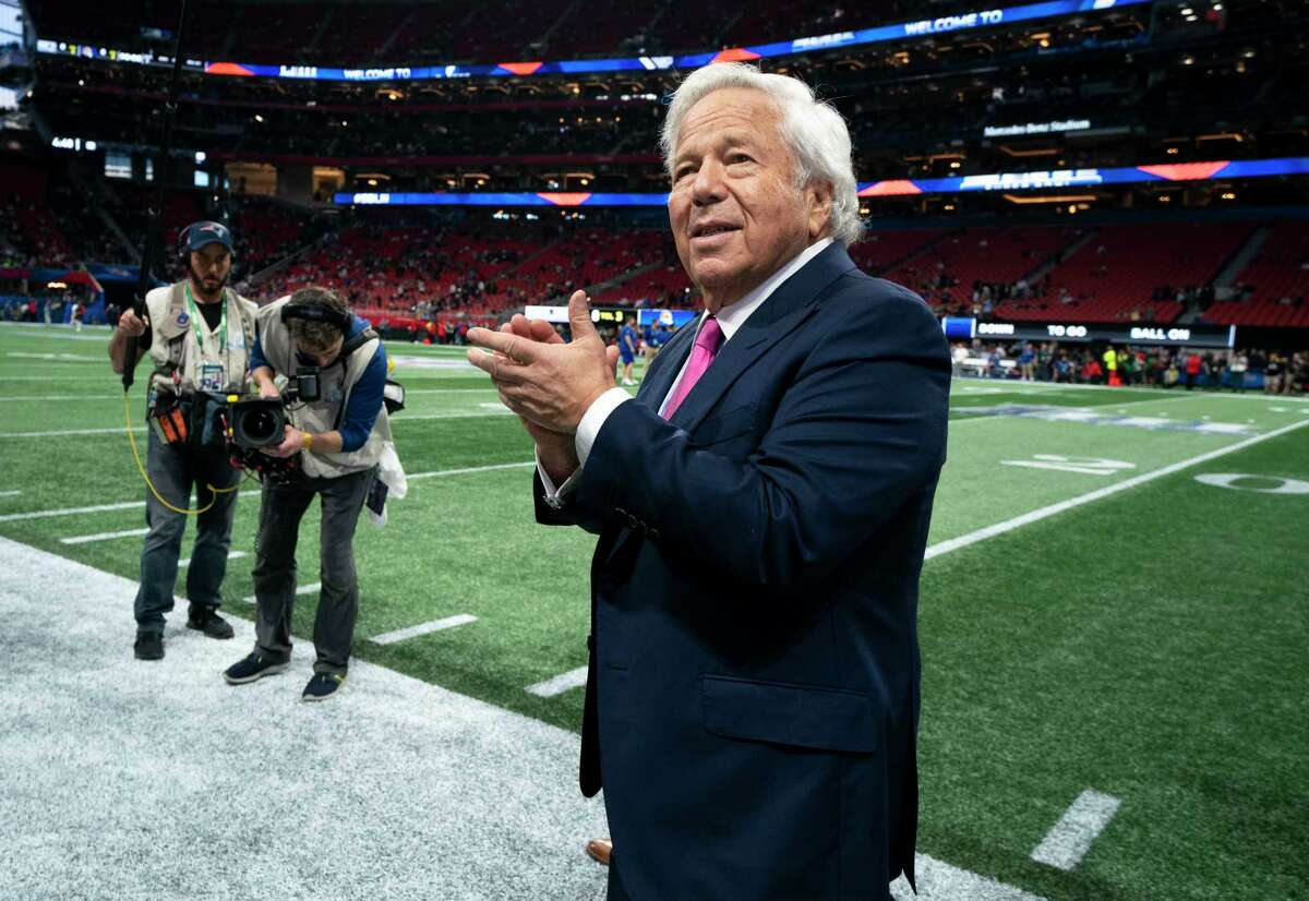 New England Patriots owner Robert Kraft walks onto the field during the Super Bowl, in Atlanta, Feb. 4, 2019. Beyond the connection to figures like Kraft lies the wretched story of women who officials say were forced to work in human trafficking. (Doug Mills/The New York Times)