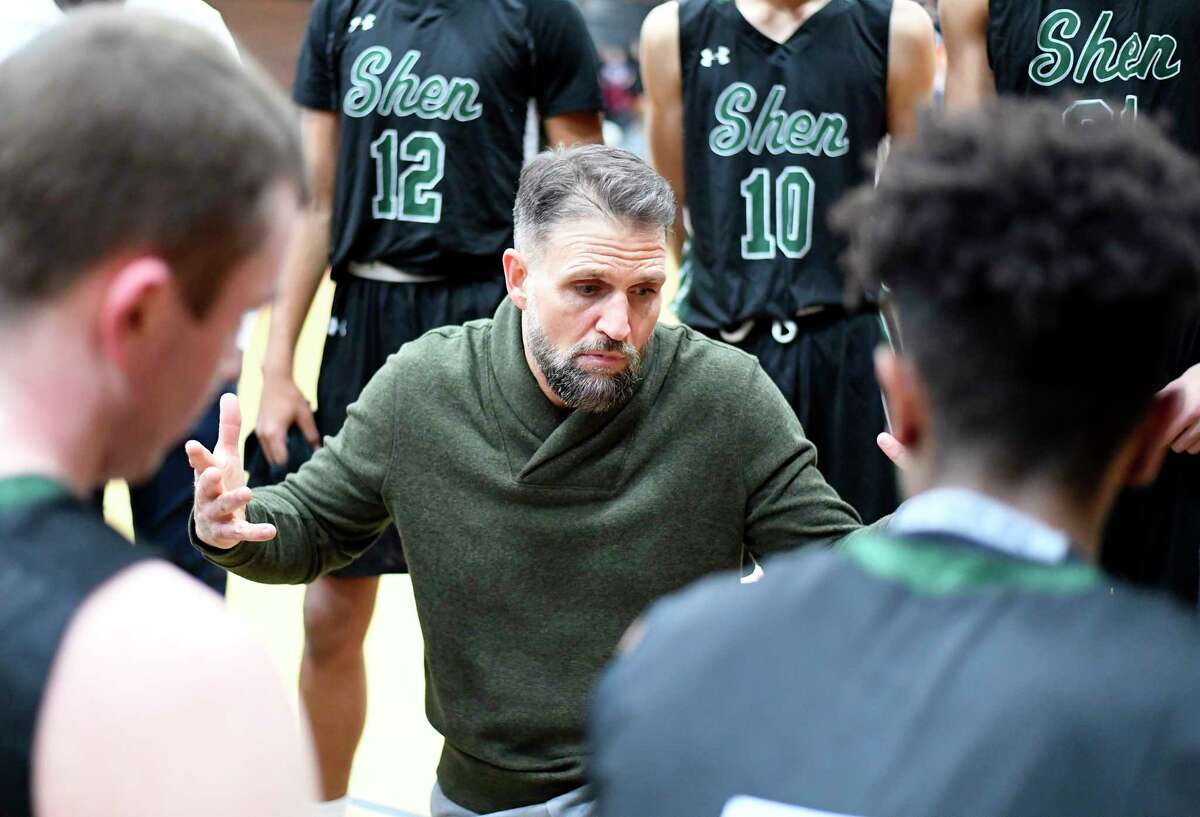 Shenendehowa head coach Tony Dzikas instructs his players against Bethlehem during the first half of a boy's Section II Class AA high school basketball game in Delmar, N.Y., Tuesday, Dec. 11, 2018. (Hans Pennink / Special to the Times Union)