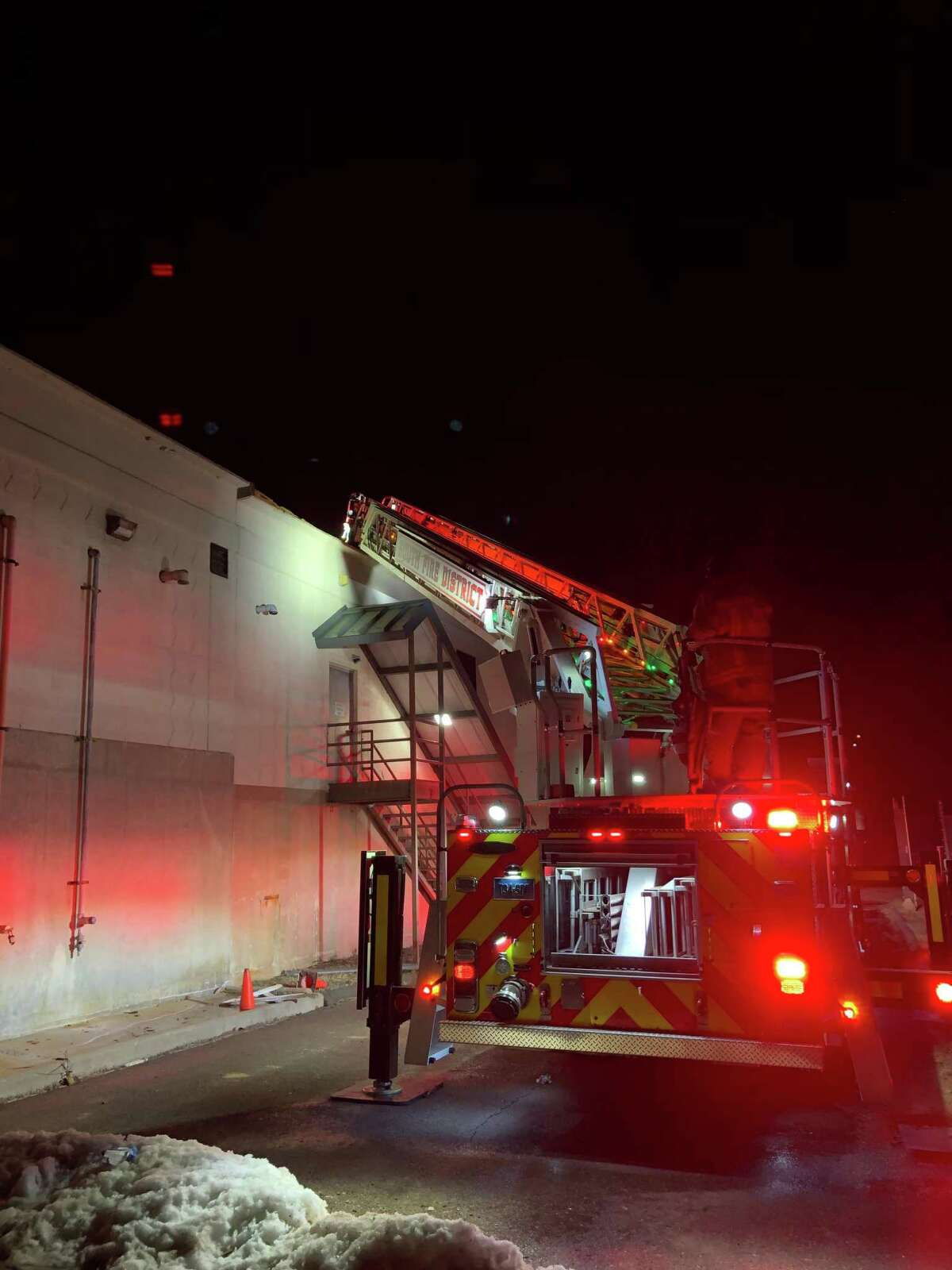Crews from Middletown's South Fire District, assisted by Middletown Fire Department personnel, knocked down a blaze Monday night on the roof of the water treatment plant on River Road.