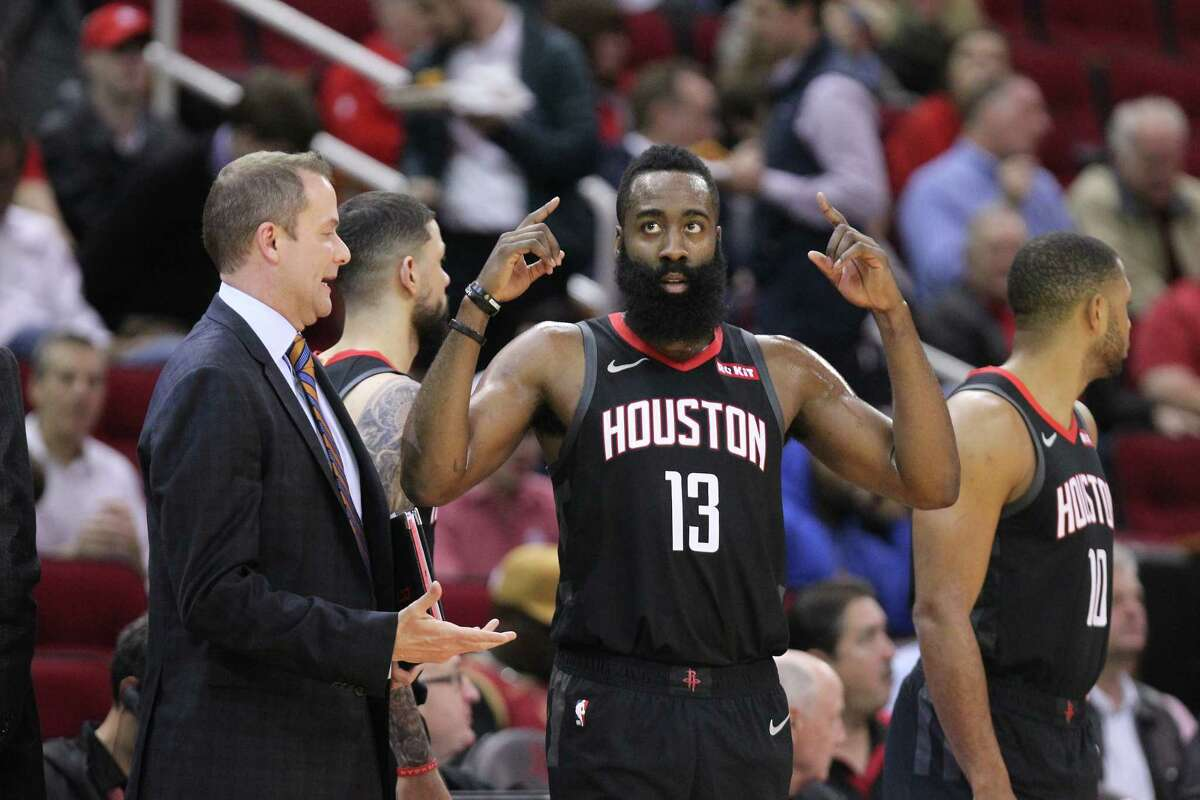 Houston Rockets guard James Harden (13) gets ready to play after a time out during the first half of an NBA basketball game at Toyota Center on Monday, Feb. 25, 2019, in Houston.
