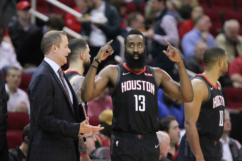 Houston Rockets guard James Harden (13) gets ready to play after a time out during the first half of an NBA basketball game at Toyota Center on Monday, Feb. 25, 2019, in Houston. Photo: Steve Gonzales, Staff Photographer / © 2019 Houston Chronicle