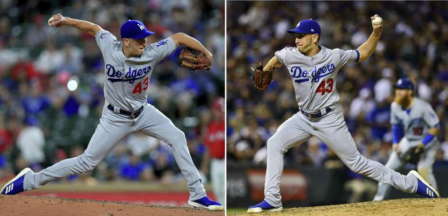 (Left) Pat Venditte #43 of the Los Angeles Dodgers pitches against the Texas Rangers in the bottom of the eighth inning at Globe Life Park in Arlington on August 28, 2018 in Arlington, Texas. (Photo by Tom Pennington/Getty Images) (Right) Pat Venditte #43 of the Los Angeles Dodgers throws a pitch left handed against the Colorado Rockies in an inning where he would retire two batters from the left side and one right handed for a perfect inning against the Colorado Rockies at Coors Field on September 8, 2018 in Denver, Colorado. (Photo by Dustin Bradford/Getty Images) Photo: Getty Images