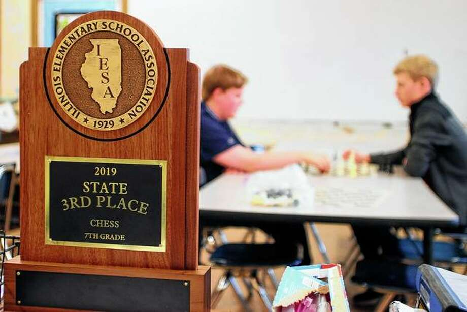 Franklin students Mitchell Tapscott (left) — this year's seventh-grade state champion — and Thad Bergschneider — last year's seventh-grade state champion — practice Monday after school. Photo: Rosalind Essig | Journal-Courier