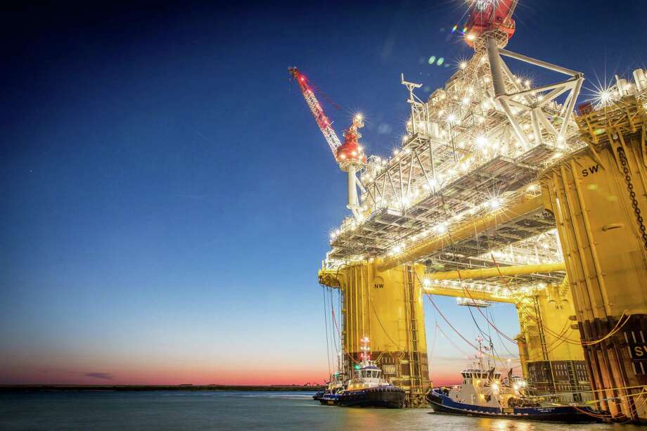 Shell's largest floating platform in the Gulf of Mexico, the Appomattox, trekked from Ingleside in May 2018 to its location 80 miles off the southeastern coast of Louisiana. The platform is expected to start producing oil this fall. Photo: Shell Oil