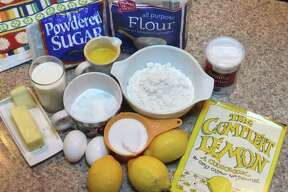 Ingredients for lemon loaf recipe.