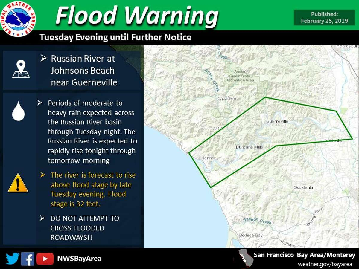A Flood Warning has been issued for the Russian River at Johnsons Beach near Guerneville from Tuesday evening until further notice. The river is forecast to rise above flood stage by late tomorrow evening.