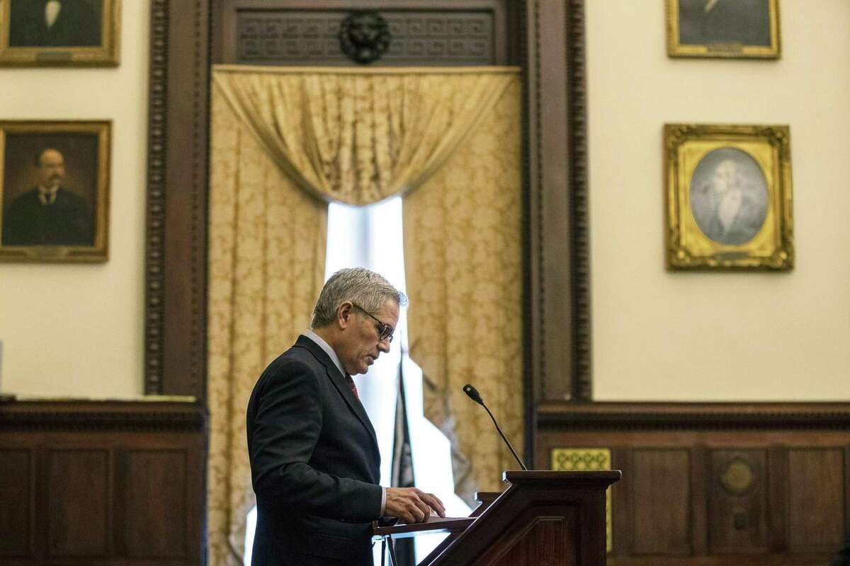 Philadelphia District Attorney Larry Krasner speaks during a press conference on the one year anniversary of the District Attorney Office's new bail guidelines for low level offenses, at City Hall in Philadelphia on Tuesday, Feb. 19, 2019. A report was released that outlined the impact of the policy. (Heather Khalifa/The Philadelphia Inquirer via AP)