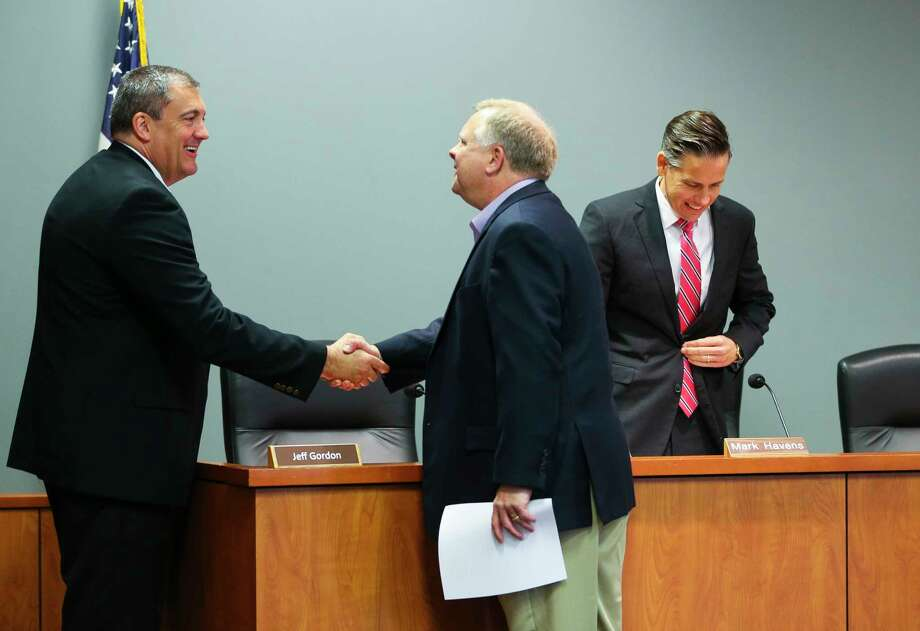 Left to right, General Land Office chief legal officer Jeff Gordon, board member Scott Rohrman and deputy land commissioner Mark Havens at a land board meeting.  Most of  the board's investment discussions are  behind closed doors. Photo: Mark Mulligan, Staff Photographer / © 2018 Mark Mulligan / Houston Chronicle