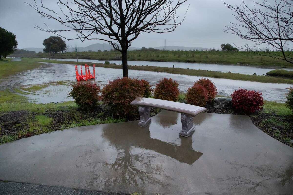 A bench at the Corte Madera Shorebird Marsh at 7 a.m. during the storm on Monday, Feb. 25, 2019 in Larkspur, CA.