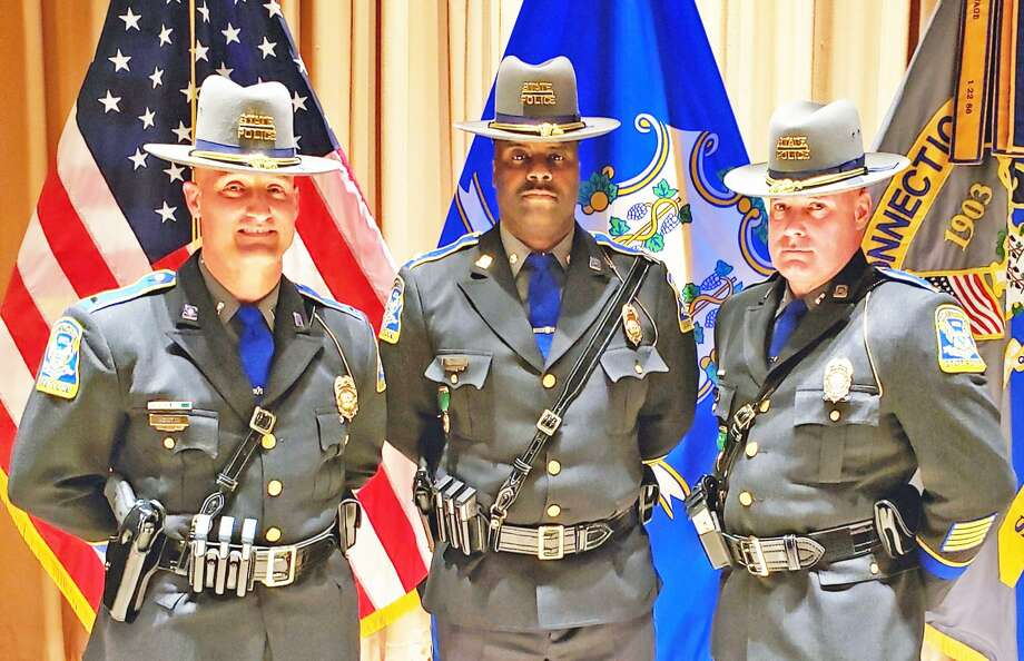 From left are Connecticut State Police Lt. Cols. David Montini, John S. Eckersley and Michael Davis. Photo: Contributed Photo