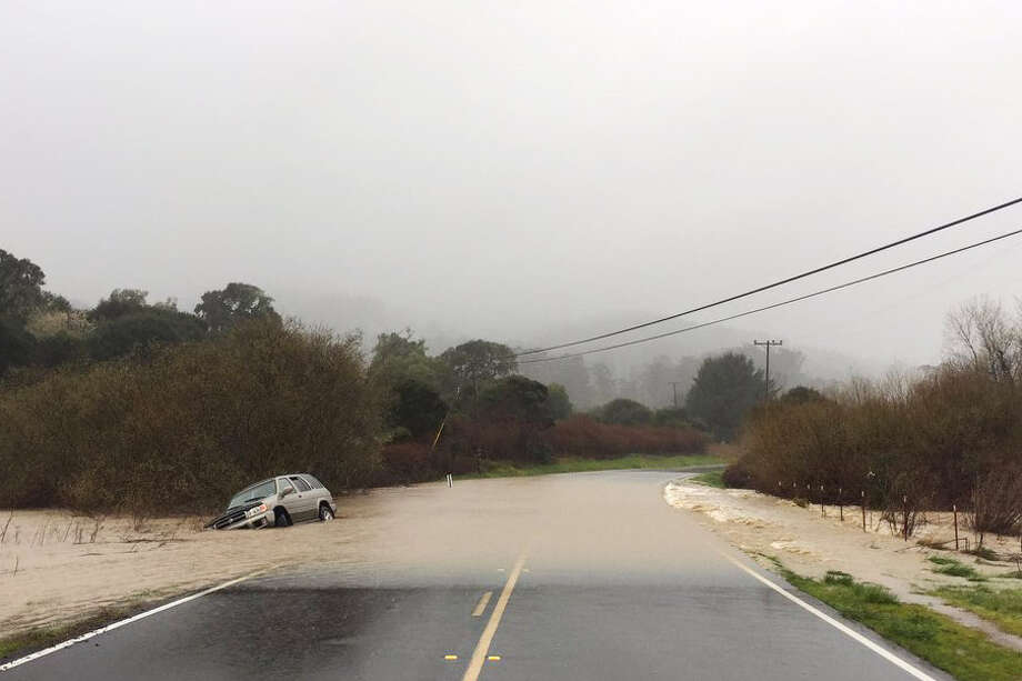 The road to the entrance to Pt. Reyes National Park in West Marin was flooded on Tuesday, February 26, 2019. Photo: Twitter / Chilesconsin