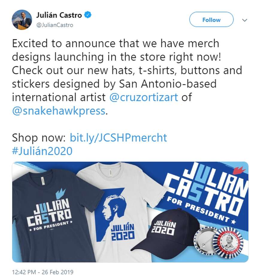 """Excited to announce that we have merch designs launching in the store right now! Check out our new hats, t-shirts, buttons and stickers designed by San Antonio-based international artist @cruzortizart of @snakehawkpress."" Photo: Twitter Screengrab"