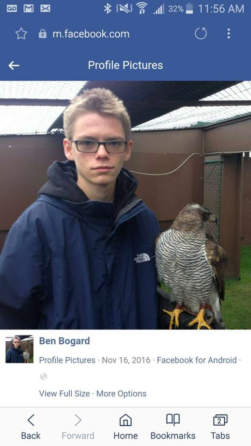 Benjamin Bogard, now 20, of New Braunfels is shown with a bird of prey in this November 2016 Facebook post that was entered into evidence in federal court in San Antonio. Bogard, facing a child pornography charge, was scheduled to be released on bond Monday, March 4, 2019. But federal prosecutors, who fear Bogard could be the nation's next perpetrator of mass violence according to court testimony, moved to block his release and Senior U.S. District Judge David Ezra granted their motion. Ezra's order, filed late Monday, supersedes an order by U.S. Magistrate Judge Henry Bemporad to release Bogard on bond. Ezra stayed the release until he takes up the federal prosecutors' appeal at a hearing on March 6. Photo: Facebook /