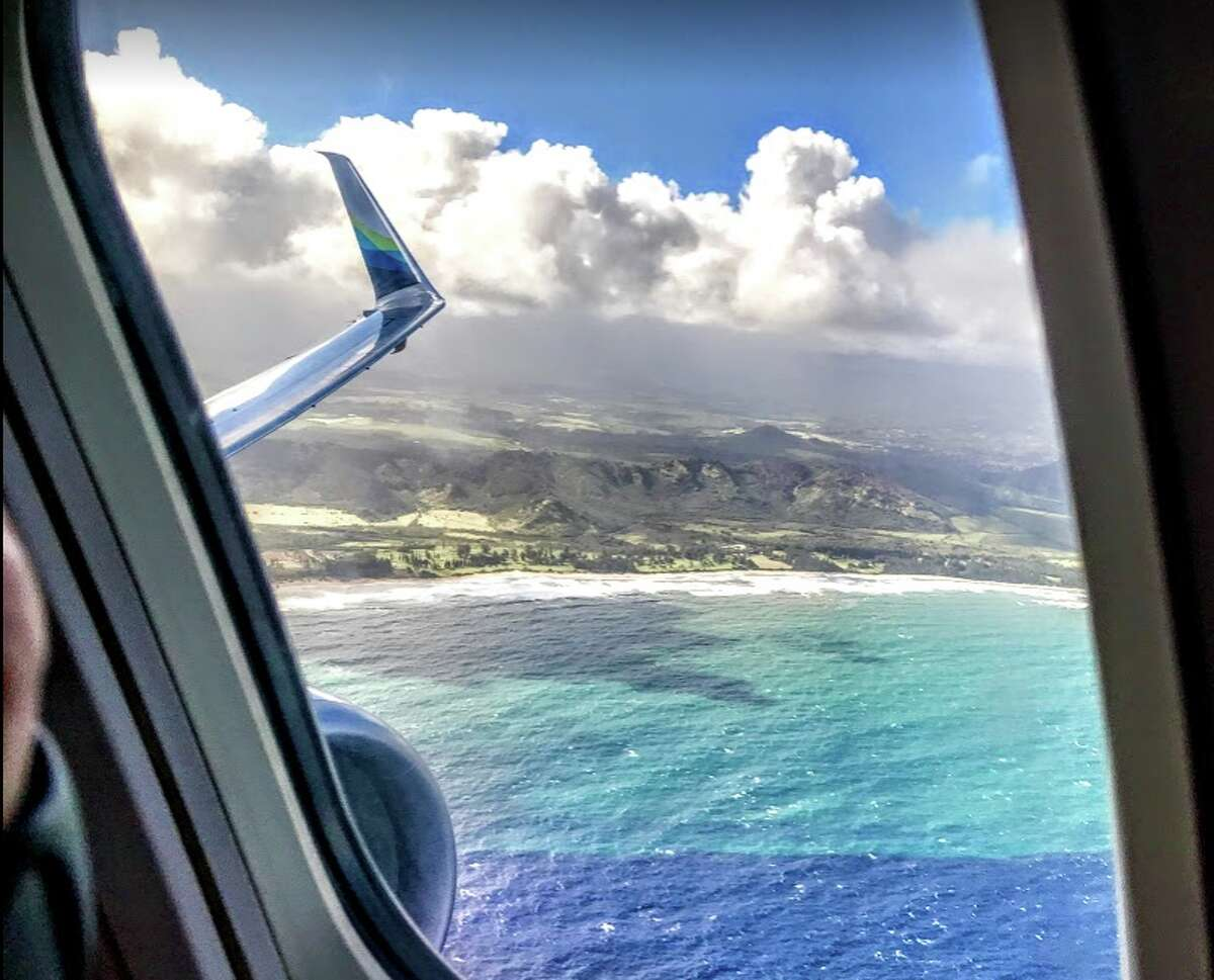 Looking out at Kauai as our Alaska Airlines B737 departs Lihue Airport in February 2019