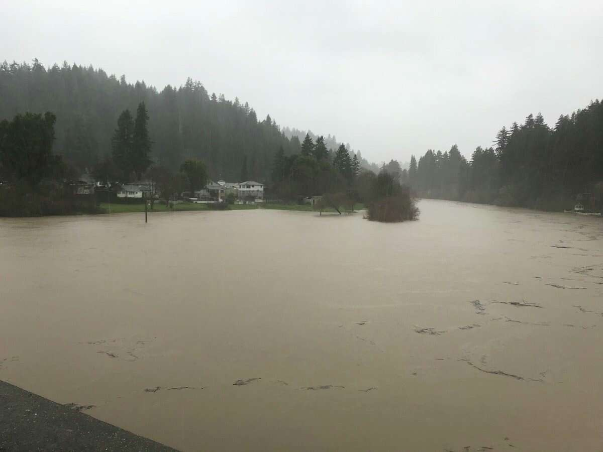 A view of the Russian River from the Monte Rio Bridge. The river is expected to hit flood stage Tuesday February, 26th in Guerneville.