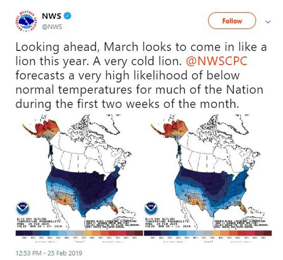It was expected to be colder than usual for the first two weeks of March, according to the National Weather Service. Photo: Courtesy NWS
