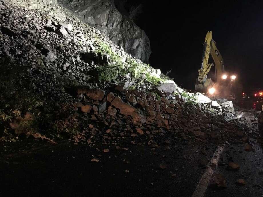 A mudslide shut down Highway 101 overnight near the California-Oregon border. Photo: CHP Crescent City