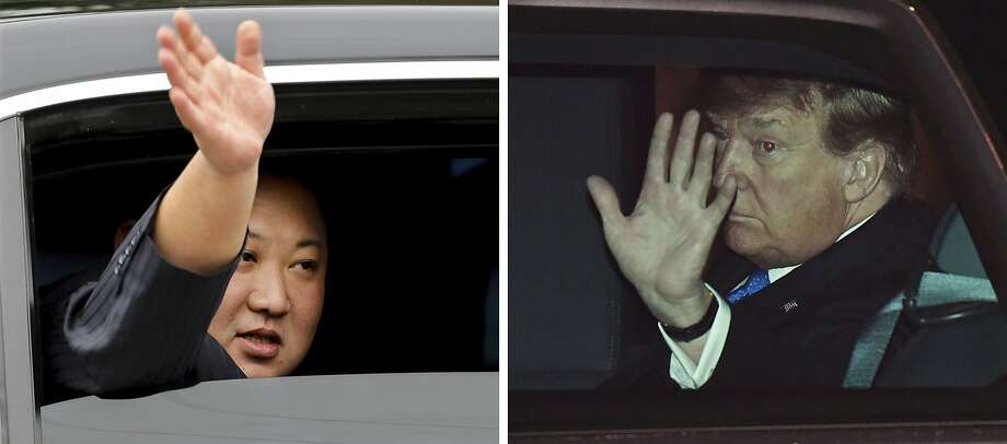 Kim Jong Un waves from a limousine in Dong Dang, while President Trump waves from his car in Hanoi. Photo: Minh Hoang And Susan Walsh / Associated Press