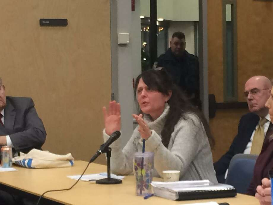 Mary Motasky, a resident who lives in the Summit Condominiums, expressed concern about the impact construction of a water tank, would have on her neighborhood Photo: / Michael P. Mayko