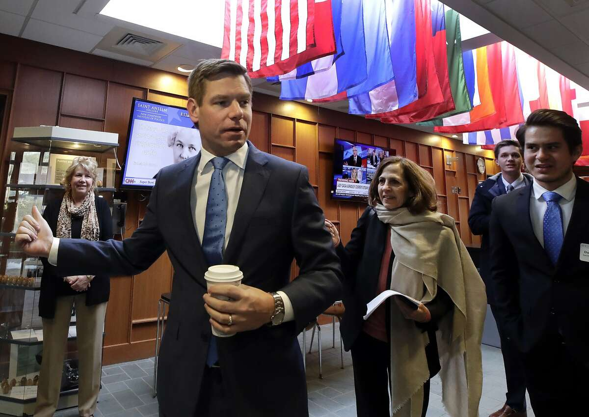 U.S. Rep. Eric Swalwell, D-Calif., arrives at a Politics & Eggs event, Monday, Feb. 25, 2019, in Manchester, N.H. Swalwell is considering a run for the Democratic presidential nomination. (AP Photo/Elise Amendola)
