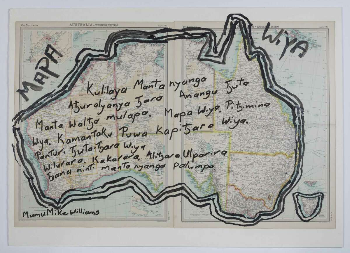 """""""We Don't Need a Map (Mapa Wiya), Mumu Mike Williams' drawing on a found map, is the title work in the show."""