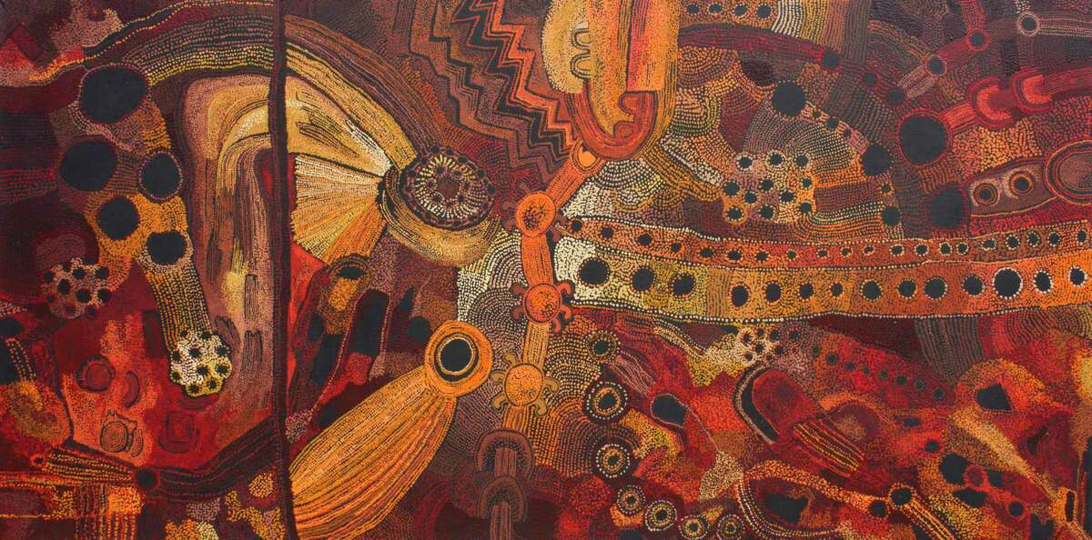 """""""Minyma Tjutangku Kunpu Kanyini,"""" a monumental painting made in 2017 by the Kanpi Women's Collaborative ((Maringka Baker, Teresa Baker and Kani Tunkin) is among works on view through Feb. 2. in """"Mapa Wiya (Your Map's Not Needed): Australian Aboriginal Art from the Fondation Opale"""" at the Menil Collection."""