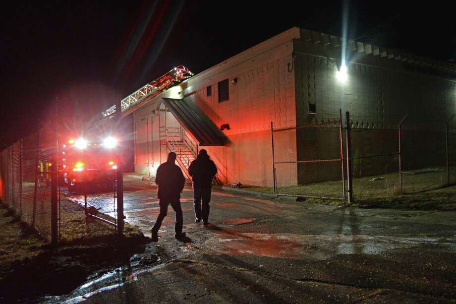 A fire was knocked down Monday night at the River Road water treatment plant in Middletown. Photo: Cassandra Day / Hearst Connecticut Media