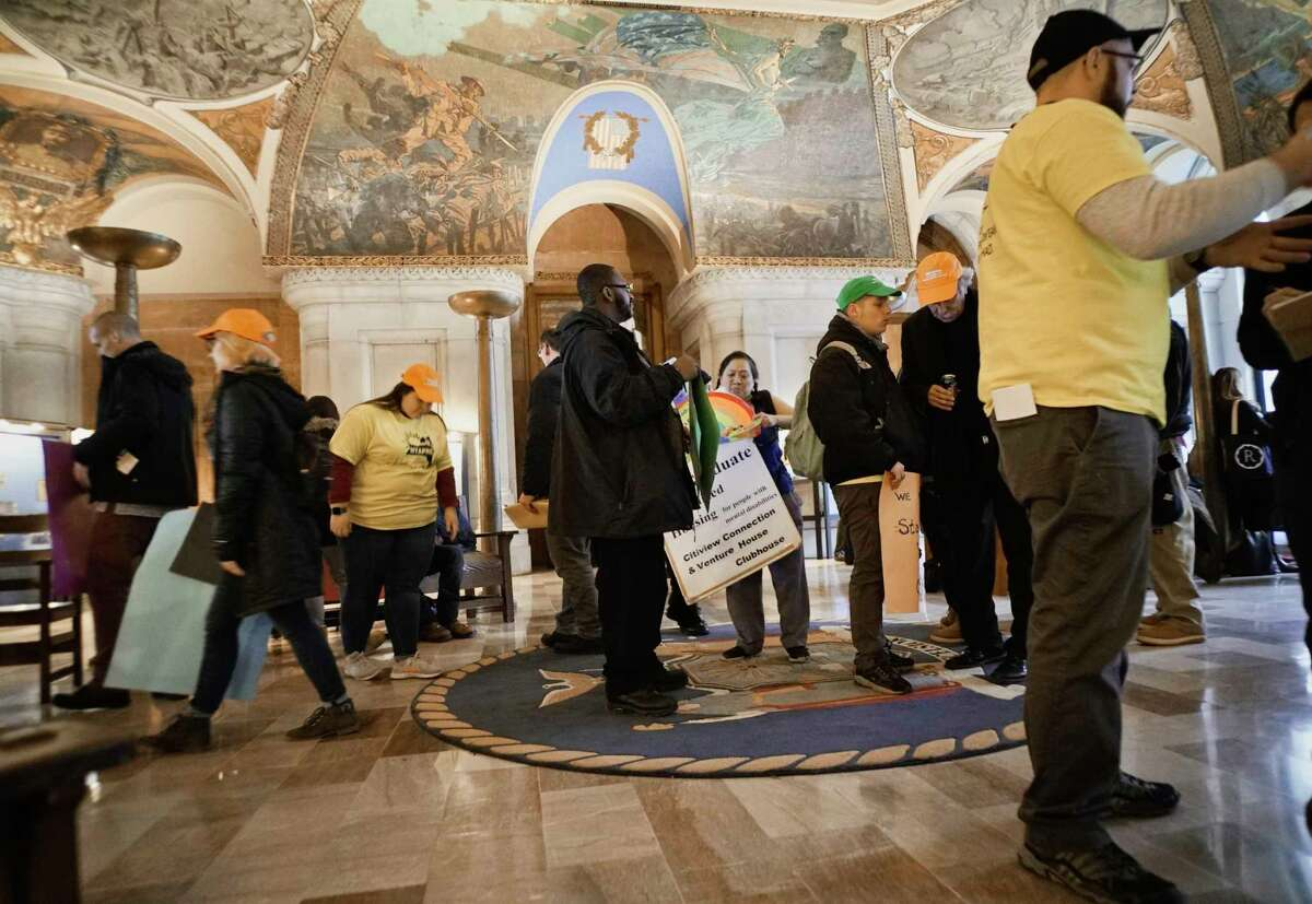 Mental health advocates and community providers from across the State take part in a rally inside the Capitol on Tuesday, Feb. 26, 2019, in Albany, N.Y. Those taking part in the rally were calling on legislators to address housing concerns, and criminal justice reforms. (Paul Buckowski/Times Union)