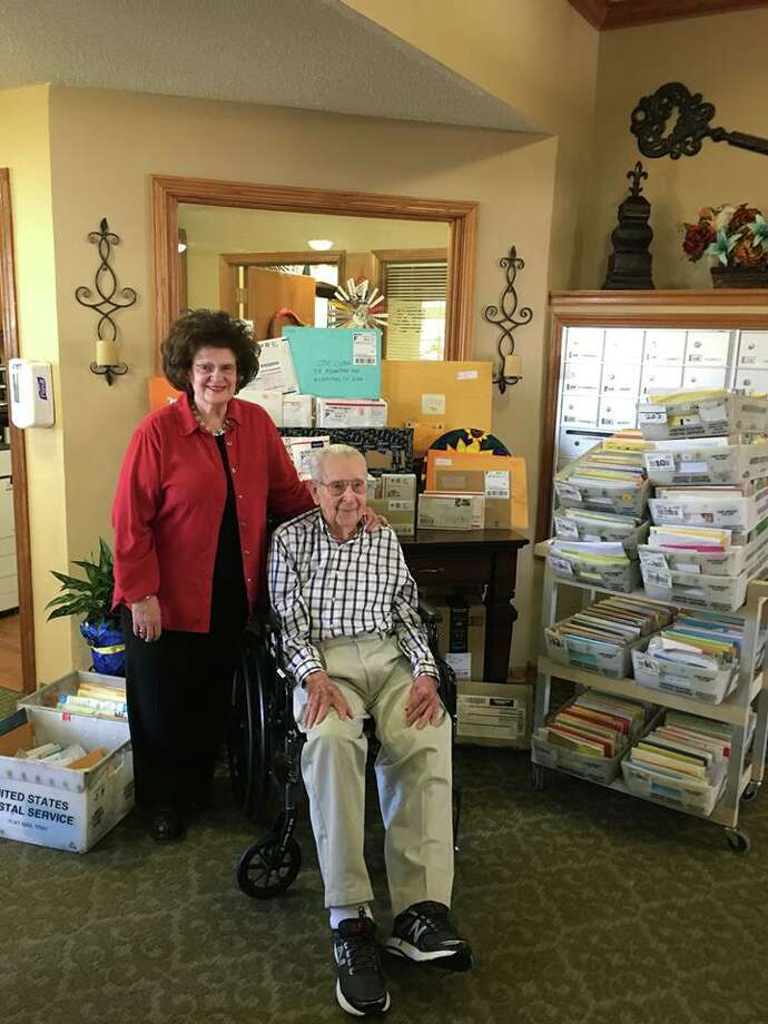 Joe Cuba, a WWII veteran living in a Wichita Falls retirement home, has been flooded by thousands of birthday cards after he asked for 100 for his 100th birthday. >>> Swipe through to see his deliveries Photo: Brookdale Midwestern