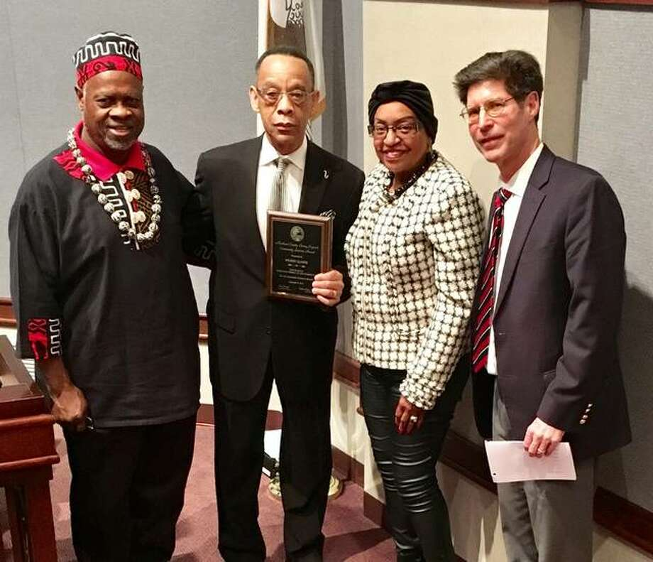 "Madison County Board member Michael ""Doc"" Holliday, Alton, Living Legend recipient Wilbert Glasper, County Board member Gussie Glapser, Venice, and Chairman Kurt Prenzler. Photo: For The Telegraph"