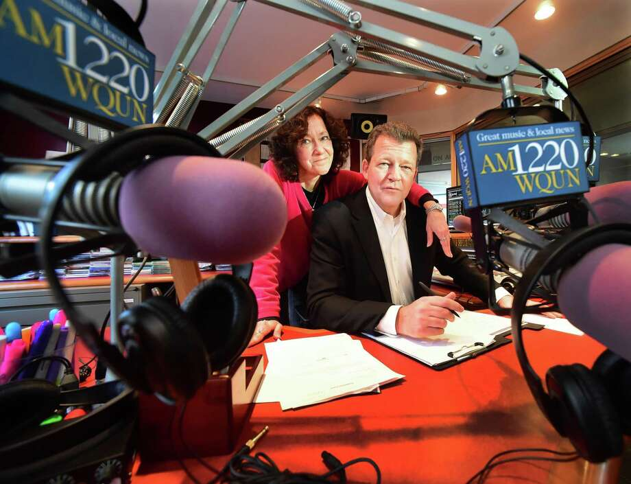 """(Peter Hvizdak - New Haven Register) Pam Landry, WQUN-AM operations manager with radio personality Brian Smith, formerly of WPLR's """"Smith & Barber"""" show, at the WQUN studios in Hamden Thursday, January 19, 2017. Landry, who also worked at WPLR, joined WQUN_AM last year. She will launch her midday shown weekdays from noon to 3 p.m. and Smith will air his show on weekdays from 3 p.m. to 6 p.m. as WQUN-AM 1220 tweaks its format to attract a wider audience for the station. Photo: Peter Hvizdak / ©2017 Peter Hvizdak / ©2017 Peter Hvizdak"""
