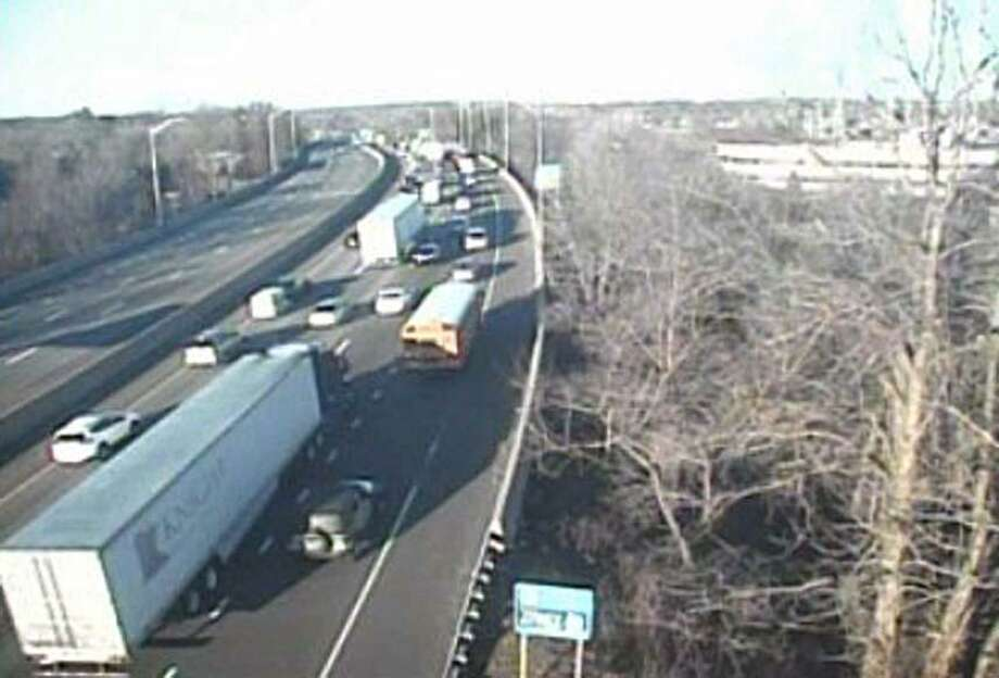 The truck is jackknifed between Exit 5 and Exit 4 on Interstate 95 south in Greenwich, Conn., on Feb. 26, 2019. The right and center lanes are closed. It was reported at 4:12 p.m. Photo: Contributed Photo / Connecticut Department Of Transportation / Contributed Photo / Connecticut Post Contributed