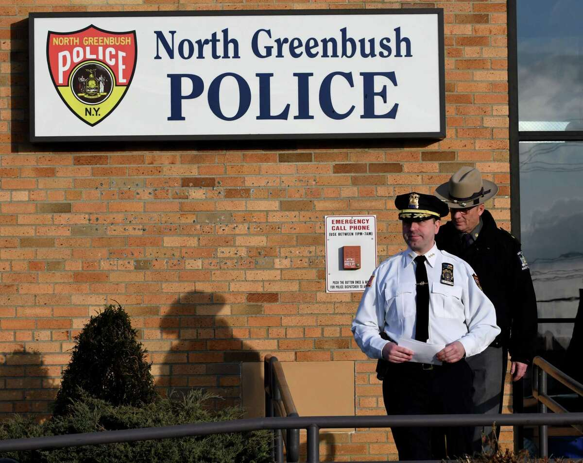 North Greenbush Police Chief David Keevern leaves the police headquarter building to hold a news briefing on the Route 4 M&T Bank branch robbery on Tuesday, Feb. 26, 2019, in North Greenbush, N.Y. (Will Waldron/Times Union)