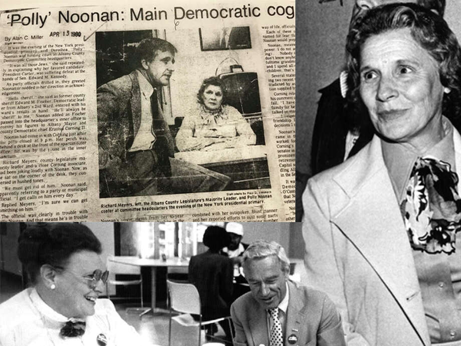 An image of an article published in the Times Union in 1980 about U.S. Sen. Kirsten Gillibrand's grandmother, Polly Noonan; Polly Noonan in 1978 (upper right); and Polly Noonan and Rep. Sam Stratton in 1986. (Times Union archives/photo illustration)