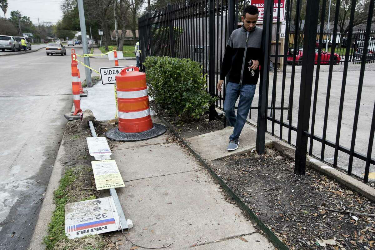 The bus stop near the intersection of Renwick Drive near Elm is undergoing reconstruction on Feb. 22 in Bellaire. Metro is committing to millions of dollars in improvements aimed at easing travel and waits at bus stops. The effort could be the start of systematic re-approaches to sidewalks and bus stops across Harris County.