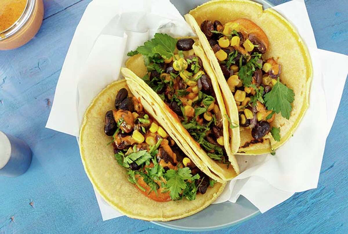 You can order veggie tacos with beans, corn, greens, and salsa on a corn tortilla.