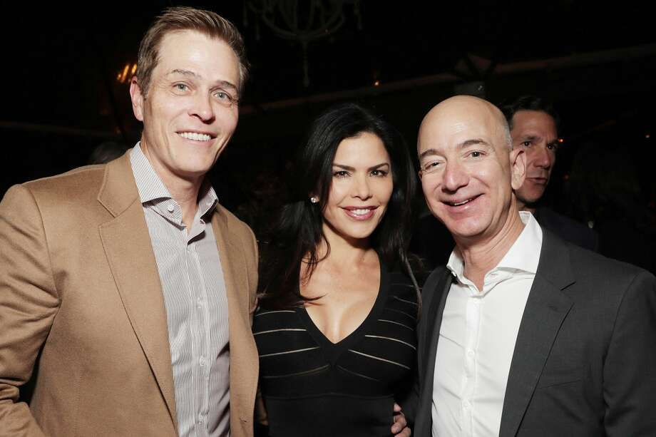 Patrick Whitesell and wife Lauren Sanchez with Amazon CEO Jeff Bezos in 2016. Photo: Todd Williamson/Getty Images For Amazon Studios